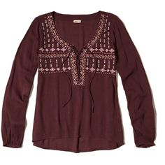 Hollister Embroidered Lace-Up Peasant Top ($20) ❤ liked on Polyvore featuring tops, blouses, purple, embroidered peasant top, peasant tops, shiny blouse, embroidery blouses and lace up top