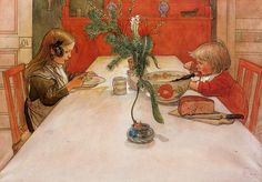 You can see so much simplicity and innocence in this little scene. I also have loved Larsson's line and color quality / Evening Meal, Carl Larsson