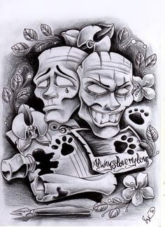 Commission masks by WillemXSM Tattoo Design Drawings, Tattoo Sketches, Art Drawings, Tattoo Designs, Pencil Drawings, Cholo Art, Chicano Art, Arte Lowrider, Skull Rose Tattoos
