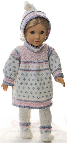 Knitted doll clothes pattern - a light summer dress in white, blue grey and pink Baby Alive Doll Clothes, Baby Alive Dolls, Doll Clothes Patterns, Clothing Patterns, Knitted Dolls, Blue Grey, Knitting Patterns, Winter Hats, White Dress