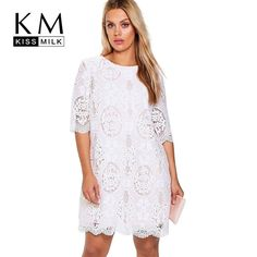 96de497ed545 Big Size New Fashion Women Clothing Casual Solid Lace Basic Summer Dress  O-Neck Plus Size Dress 4XL 5XL 6XL