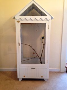 Budgie cage converted from child's wardrobe Diy Bird Cage, Bird Cages, Parrot Cages, Bird Aviary, Parrot Toys, Budgies, Parrots, Bird Toys, Diy Stuffed Animals