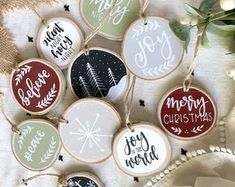 Custom Christmas Wood Slice Ornaments // ornament // birch // rustic // to // stocking tag Wooden Christmas Ornaments, Christmas Wood, Christmas Projects, Holiday Crafts, Holiday Fun, Christmas Time, Christmas Decorations, Christmas Paintings, Crafty
