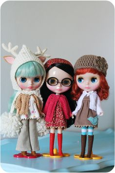 The first family portrait of my three Blythes;, Bluebird, Fawn and Kitty...