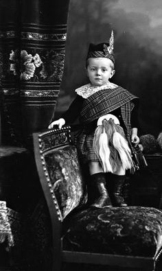 antique photo ... wee boy kitted out in his kilt and sporran