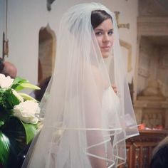 A glance back at our families whilst standing at the altar... #bride #wedding #veil