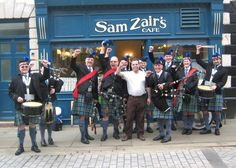 Outside Sam Zair's Café, Fore Bondgate, Bishop Auckland, with some of the band 2014