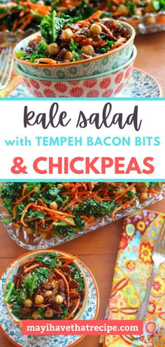 There is so much to love about this kale salad! First of all, it's refreshing! It's jam-packed with veggies and even has tempeh bacon bits. Try it and you'll see!