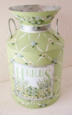 KATHY HATCH Metal Milk Can Dairy Countainer Country Cottage Decor Vintage Herbs