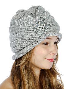 Knit Bucket/Cloche Hat Women's Fall/Winter Gemstone Brooch Silver & Sparkles #CC #BucketCloche