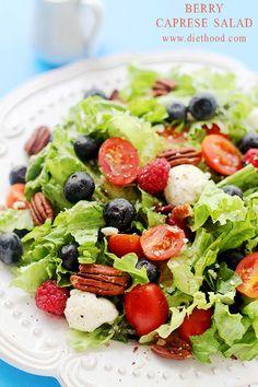Berries Caprese Salad   www.diethood.com   Caprese Salad mixed with greens and berries - I can LIVE on this stuff!   #recipe #capresesalad #berries
