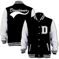 Bang Tidy Clothing Unisex Directioner Varsity Jacket (€48) ❤ liked on Polyvore featuring outerwear, jackets, one direction, tops, shirts, black jacket, unisex jackets, black letterman jacket, varsity jacket and black varsity jacket