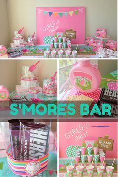 No camper can resist a fabulous DIY S'more and Candy Buffet! Every glamping themed slumber party calls for sweets, so be sure to display plenty of options using our Clear Octagon Candy Buckets and Hot Pink Candy Scoops. For more ideas on how to style your glamping party check out the OTC blog post by @sweetlychicdes