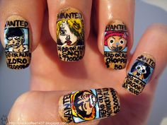 Some really intense One Piece nail art.