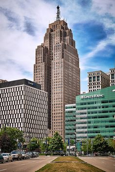 """Penobscot Building, Detroit - Michigan.  Worked here at age 19 and will never forget """"Mr. Penobscot"""" who just hung out all day walkin' the main lobby area lookin' like a super-sized version of Saddam Hussein...LOL!"""