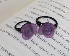 Mom and daughter purple rose and black ring by OnTheWireByMaryJane, $15.00