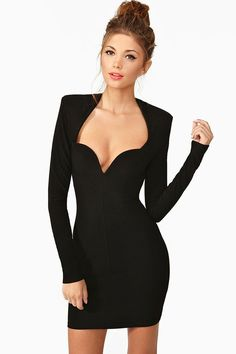 Chicloth Black Sweetheart Neckline Bandage Dress