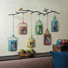 Birdcage Picture Photo Frame Wall Decor 10017100 Simply the most charming way to showcase your family photos! This wall-mounted photo decor features six brightly colored birdcage frames Frame Wall Decor, Frames On Wall, Display Wall, Indian Home Decor, Diy Home Decor, Scrapbook Wall Art, Home Crafts, Diy Crafts, Home Decoracion