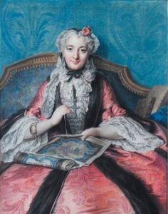 Charles-Antoine Coypel (Paris, 1694 - 1752), Portrait de femme à son ouvrage (Portrait of a woman sewing), 1746.