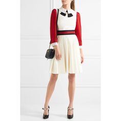 Gucci Jersey-trimmed pleated twill mini dress (1,930 CAD) ❤ liked on Polyvore featuring dresses, flared dresses, white fitted dress, short a line dresses, turtleneck dress and white dress