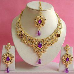 Purple and White Stone Studded Necklace Set Online Shopping: Wedding Necklace Set, Diamond Necklace Set, Pearl Necklace Set, Long Pearl Necklaces, Diamond Jewelry, Indian Bridal Jewelry Sets, Indian Jewellery Online, Indian Jewelry, Bridal Jewellery