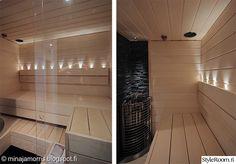remontti,remontointi,kylpyhuone,sauna,saunalauteet,saunan valaistus,haapalankku,pieni sauna,vaalea sauna,led,led-valot