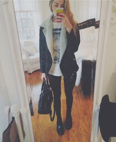 last minute christmas shopping!! topshop leather leggings and chelsea boots, with the 1975 tshirt, urban outfitters jacket, etsy choker, and...