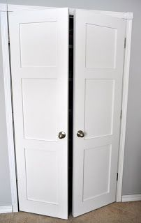 Updating Closet Doors- replace sliding closet doors with hollow hinged doors. I'd insert mirrors in the squares in the door fronts