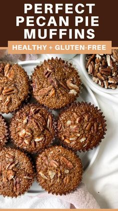 Pecan Pie Muffins are the perfect combination for dessert. A perfect combination of a pie with all the convenience of a muffin! Great for breakfast, brunch, and dessert! #PecanPie #Muffins Healthy Muffin Recipes, Delicious Breakfast Recipes, Healthy Muffins, Healthy Dessert Recipes, Delicious Desserts, Vegan Recipes, Pecan Pie Muffins, Cinnamon Roll Muffins, Gluten Free Muffins