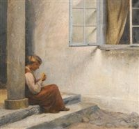 On the porch, Liselund by Peter Vilhelm Ilsted