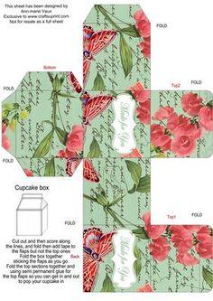 Mint Colour Sweet Peas Single Cupcake Presentation Box on Craftsuprint - Add To Basket!