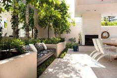 amenagement-jardin-terrasse-banc-bois-parterres-surélevés-arbres-plantes-grimpantes