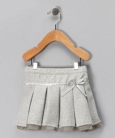 {Light Gray Bow Pleated Skirt by blü} Love, love, love.