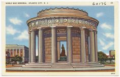 World War Memorial Atlantic City New Jersey Vintage Linen Postcard 1950 Seaside Heights, Jewel Of The Seas, Vintage Hotels, Vacation Days, Boston Public Library, New Jersey, Jersey Girl, Atlantic City, Old Postcards