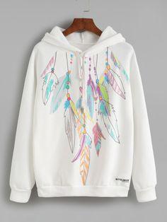 White Feather Print Hooded Sweatshirt