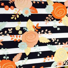 Gold Floral Fabric, Black & White Stripes Pattern for Baby, Wedding, and Home Decor Crafts