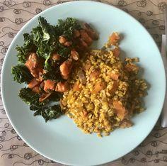 Kale y Boniato salteados con ajo + Paella de setas y verduras con arroz integral ecológico.