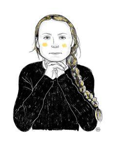 Greta Thunberg - portrait illustration by Denise Tolentino for Inktober 2019,  Tags: climate activist, teen leader, inspiring woman, girl power, shero, strong woman Portrait Illustration, Strong Women, Inktober, Girl Power, Teen, Illustrations, Woman, Anime, Art