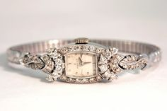 VINTAGE Ladies OMEGA Watch Art Deco Solid Platinum w/ Diamonds