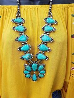 COWGIRL Gypsy  Bling SQUASH BLOSSOM Turquoise Southwestern NECKLACE  | Jewelry & Watches, Fashion Jewelry, Necklaces & Pendants | eBay!