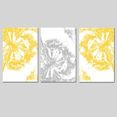 Abstract Dandelion Trio - Set of Three 13x19 Coordinating Modern Floral Prints - CHOOSE YOUR COLORS - Shown in Yellow, Gray