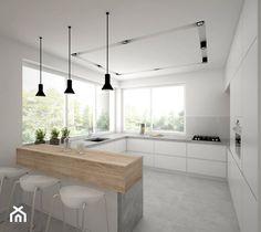 Aranżacje wnętrz - Kuchnia: Dom - 65 m2 - Duża otwarta kuchnia w kształcie litery g z wyspą, styl skandynawski - BIG IDEA studio projektowe. Przeglądaj, dodawaj i zapisuj najlepsze zdjęcia, pomysły i inspiracje designerskie. W bazie mamy już prawie milion fotografii!