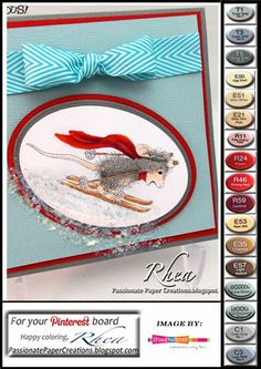 """Passionate Paper Creations: """"Ski Run"""" - House Mouse Designs and Stampendous  ~ Card by Rhea. ~ Stamping."""