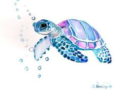 Sea Turtle Original watercolor painting 9 X 12 in sea animal art sea animals watercolro animals blue light purple painting Watercolor Sea, Watercolor Animals, Watercolor Paintings, Watercolor Jellyfish, Ocean Paintings, Animal Paintings, Watercolor Tattoos, Landscape Watercolour, Jellyfish Tattoo