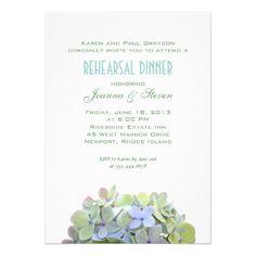 Simple Wedding Rehearsal Dinner Green and Blue Flowers Rehearsal Dinner Invite