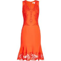 Jonathan Simkhai Lace Midi Dress (20 625 UAH) ❤ liked on Polyvore featuring dresses, red, lace dress, midi dress, red dress, red v neck dress and red midi dress