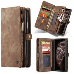 CaseMe iPhone 11 Pro Zipper Wallet Detachable 2 in 1 Case Coffee Iphone 11 Pro Case, Iphone Cases, Leather Cover, Leather Fashion, Leather Wallet, Pouch, Zipper, Coffee, Kaffee