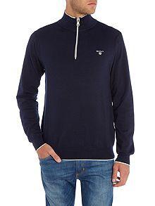 Zip Neck Cotton Knitted Jumper