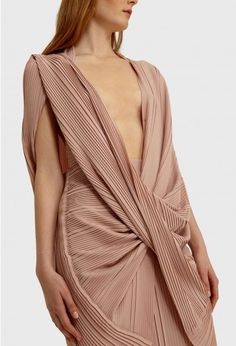 AQ/AQ Olivia Pleated Maxi Dress with Deep Plunge Front and Twisted Waist · Pink Sand