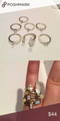 Kendra Scott Phoebe Gold Ring Set size 5.5 Read carefully: everything is for sale EXCEPT front and center bigger stone ring. I'm keeping this one. You will be receding 6. Because of this the price is cheaper ! This is a really good deal and have only been worn a few times :) I measured with a ring measurer for exact sizing properties. Bundle with others for a better deal :) Kendra Scott Jewelry Rings